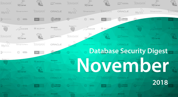 Database Security Digest – November 2018