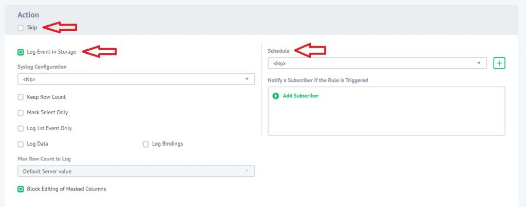 Configuring of Action section of Dynamic Data Masking Rule