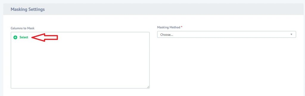 Configuring columns for masking